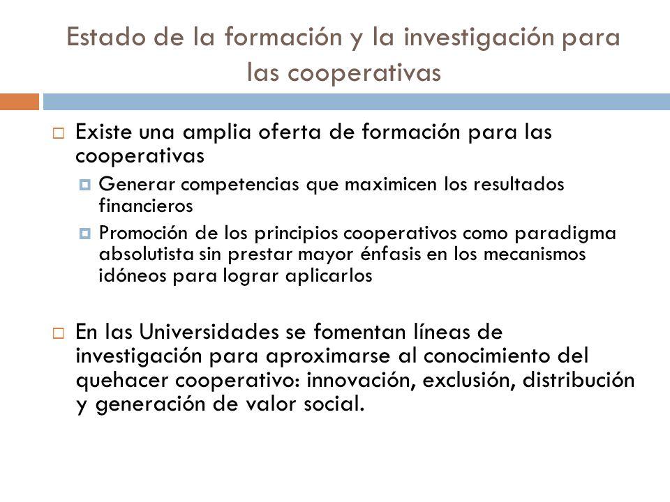 Estado de la formación y la investigación para las cooperativas Existe una amplia oferta de formación para las cooperativas Generar competencias que m