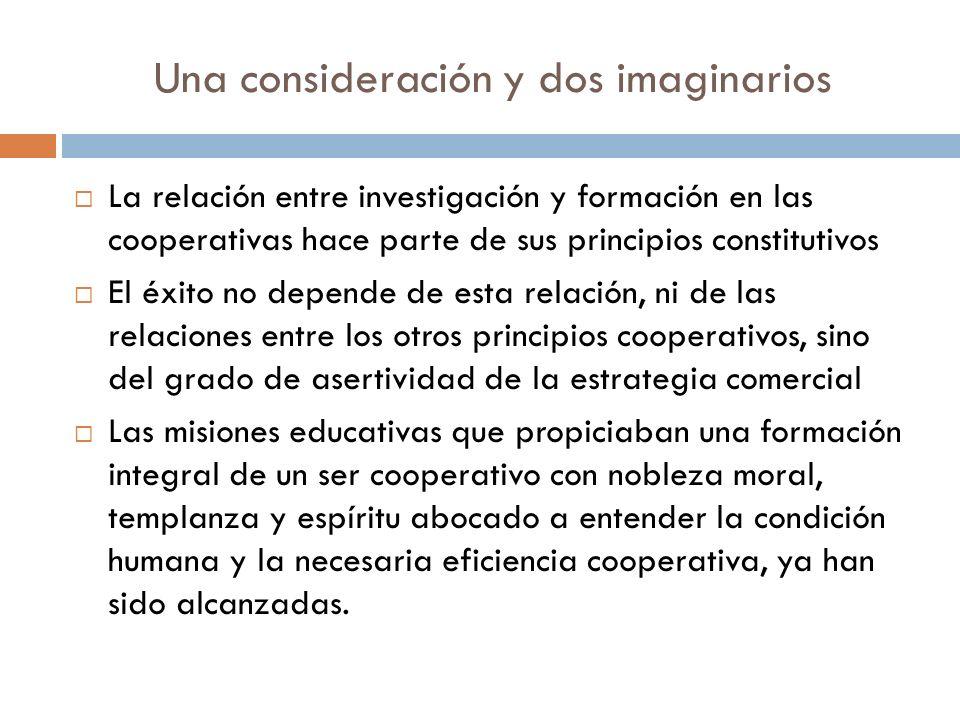 Una consideración y dos imaginarios La relación entre investigación y formación en las cooperativas hace parte de sus principios constitutivos El éxit