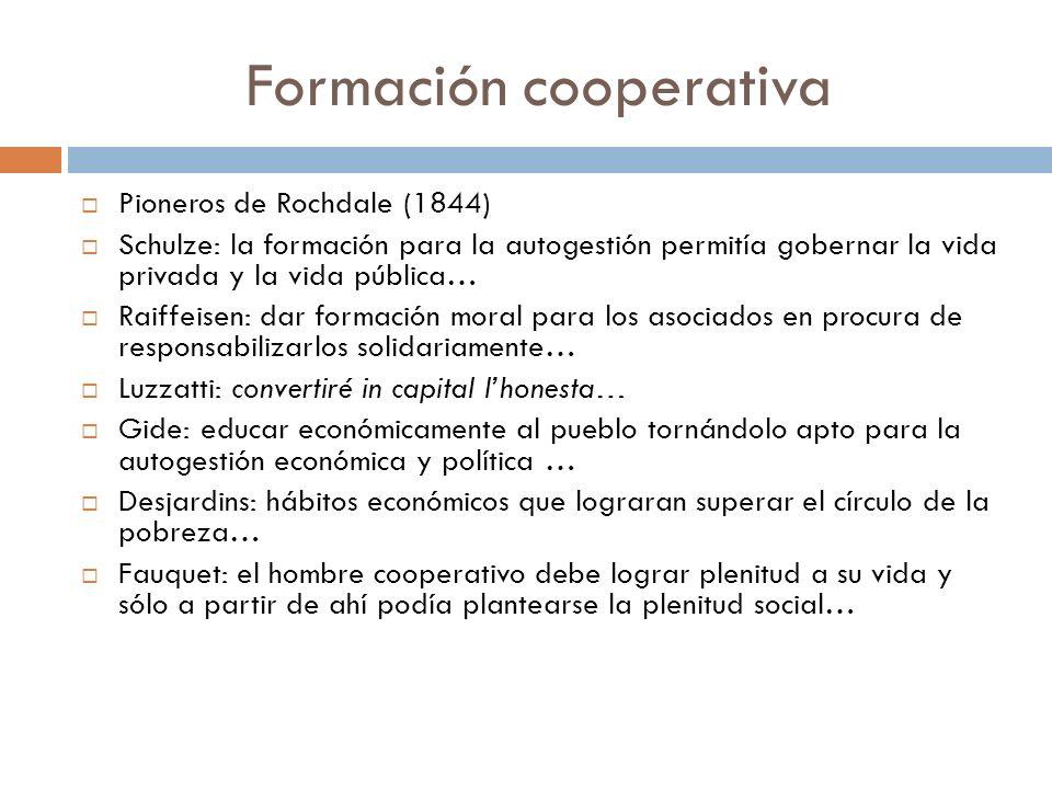 Formación cooperativa Pioneros de Rochdale (1844) Schulze: la formación para la autogestión permitía gobernar la vida privada y la vida pública… Raiff