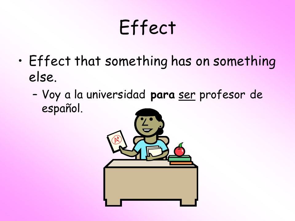 Effect Effect that something has on something else. –Voy a la universidad para ser profesor de español.
