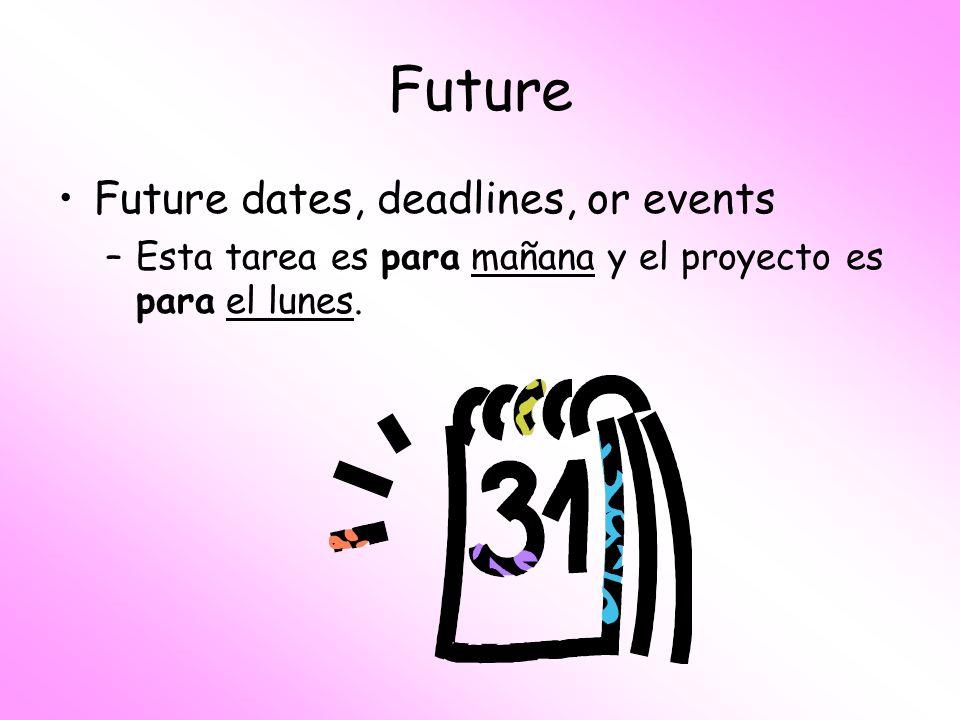 Future Future dates, deadlines, or events –Esta tarea es para mañana y el proyecto es para el lunes.