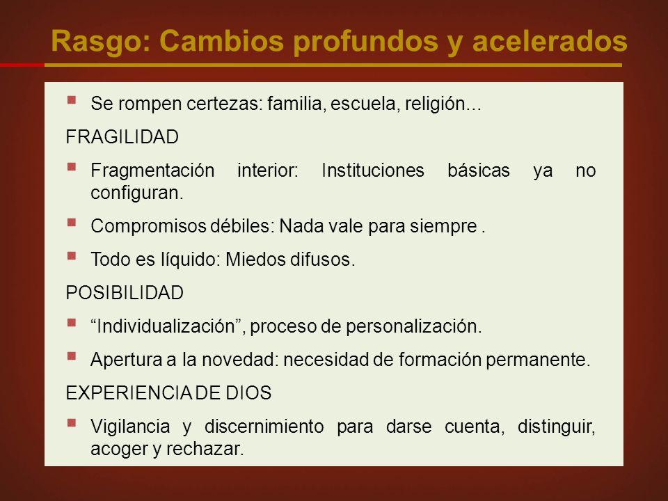 Rasgo: Cambios profundos y acelerados Se rompen certezas: familia, escuela, religión...