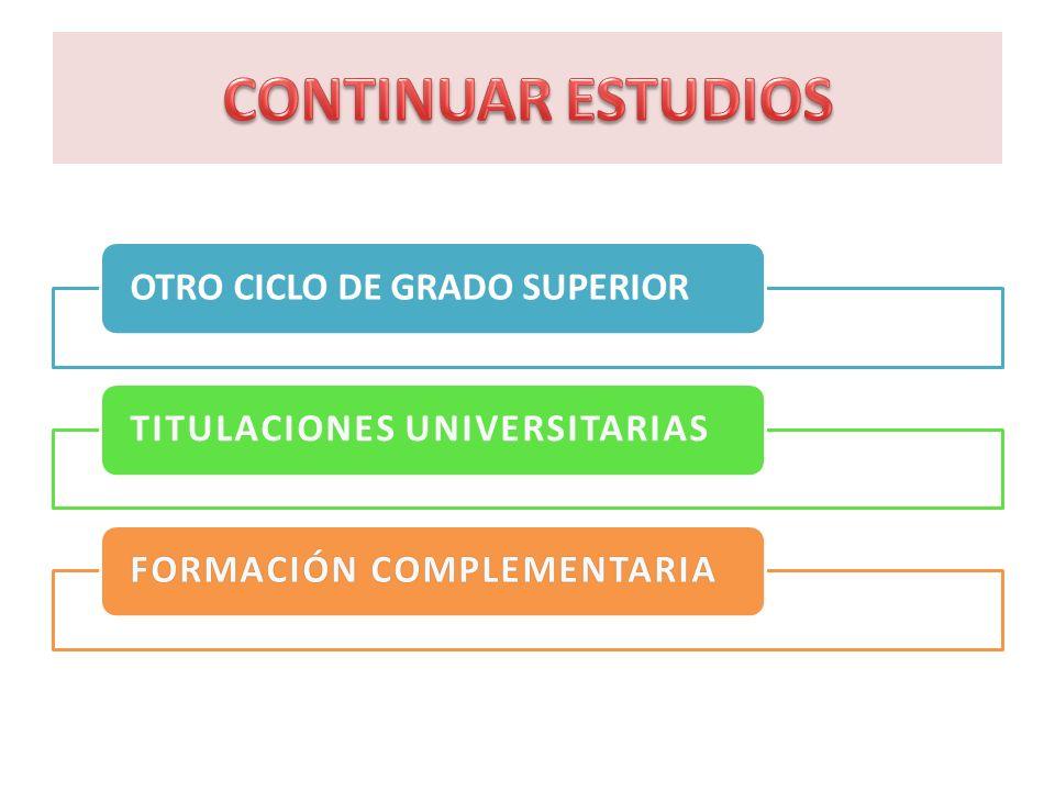 OTRO CICLO DE GRADO SUPERIORTITULACIONES UNIVERSITARIASFORMACIÓN COMPLEMENTARIAFORMACIÓN COMPLEMENTARIA