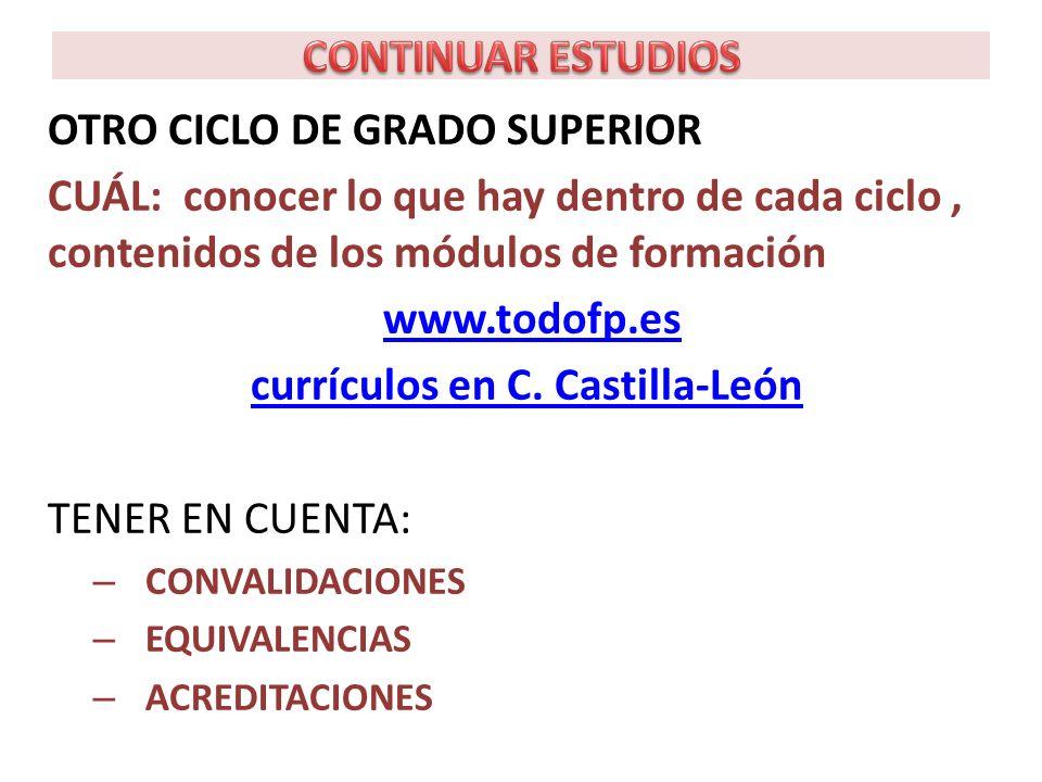 OTRO CICLO DE GRADO SUPERIOR CUÁL: conocer lo que hay dentro de cada ciclo, contenidos de los módulos de formación www.todofp.es currículos en C.