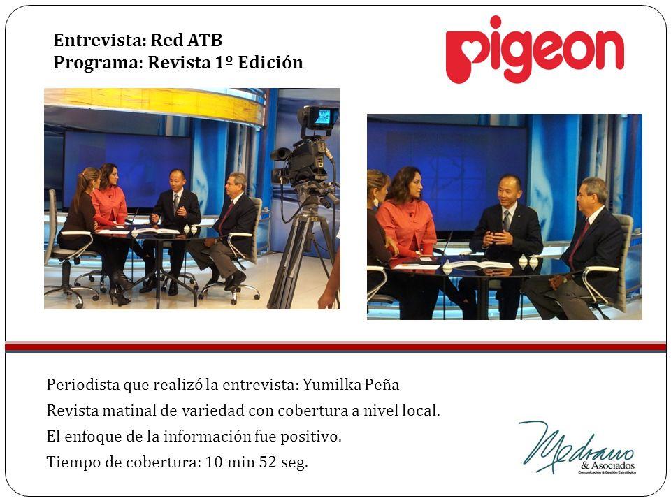 Periodista que realizó la entrevista: Yumilka Peña Revista matinal de variedad con cobertura a nivel local. El enfoque de la información fue positivo.