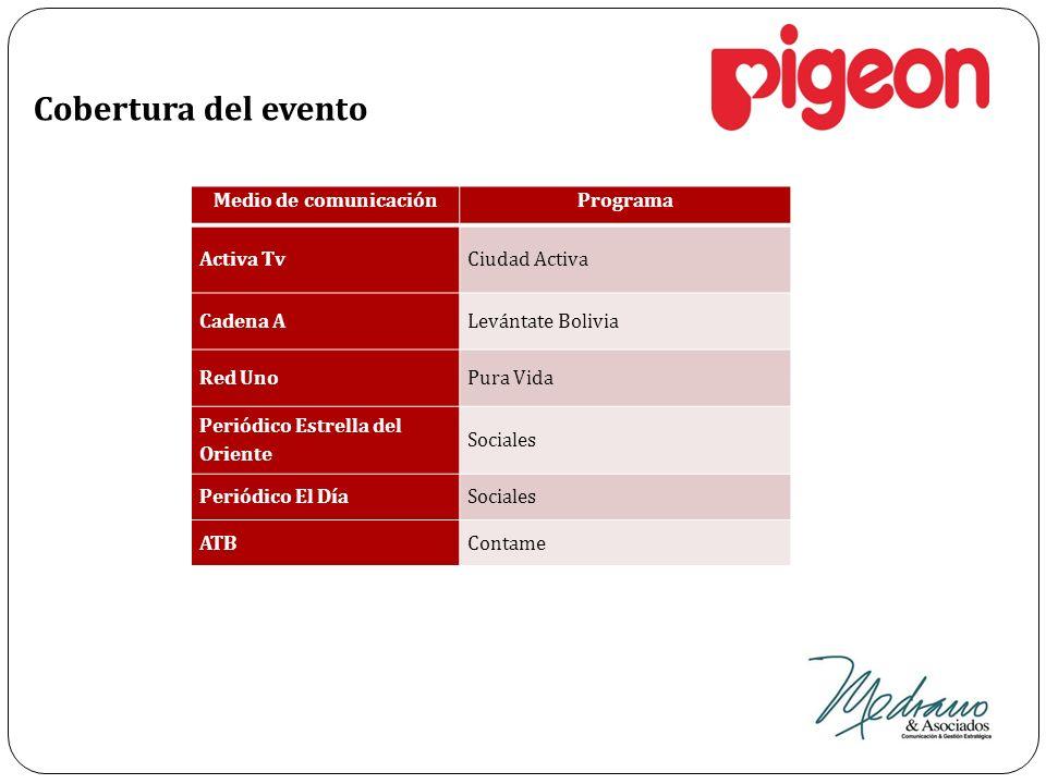 Cobertura del evento Medio de comunicaciónPrograma Activa TvCiudad Activa Cadena ALevántate Bolivia Red UnoPura Vida Periódico Estrella del Oriente So