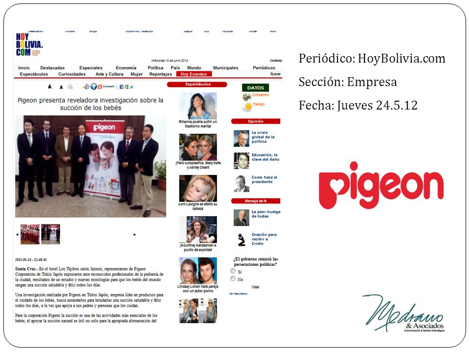 Periódico: HoyBolivia.com Sección: Empresa Fecha: Jueves 24.5.12