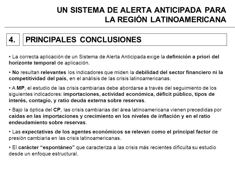 UN SISTEMA DE ALERTA ANTICIPADA PARA LA REGIÓN LATINOAMERICANA PRINCIPALES CONCLUSIONES4.