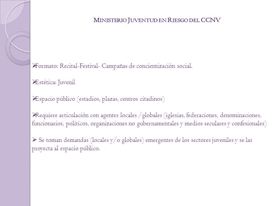 M INISTERIO J UVENTUD EN R IESGO DEL CCNV Formato: Recital-Festival- Campañas de concientización social.