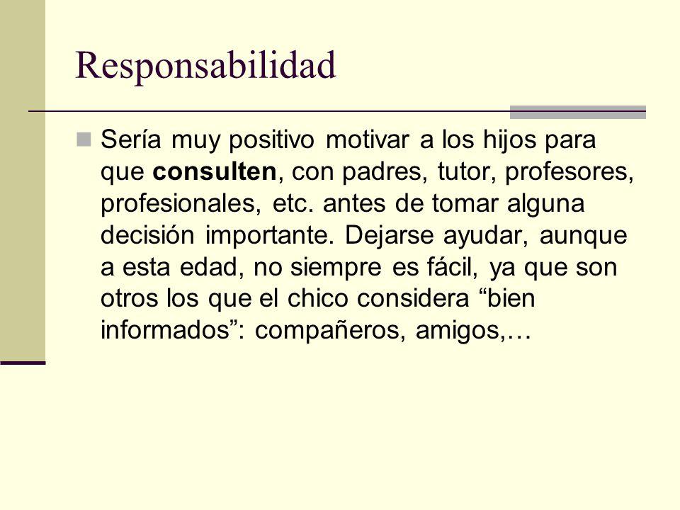Responsabilidad Sería muy positivo motivar a los hijos para que consulten, con padres, tutor, profesores, profesionales, etc. antes de tomar alguna de