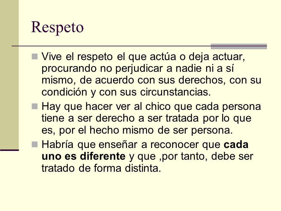 Respeto Vive el respeto el que actúa o deja actuar, procurando no perjudicar a nadie ni a sí mismo, de acuerdo con sus derechos, con su condición y co