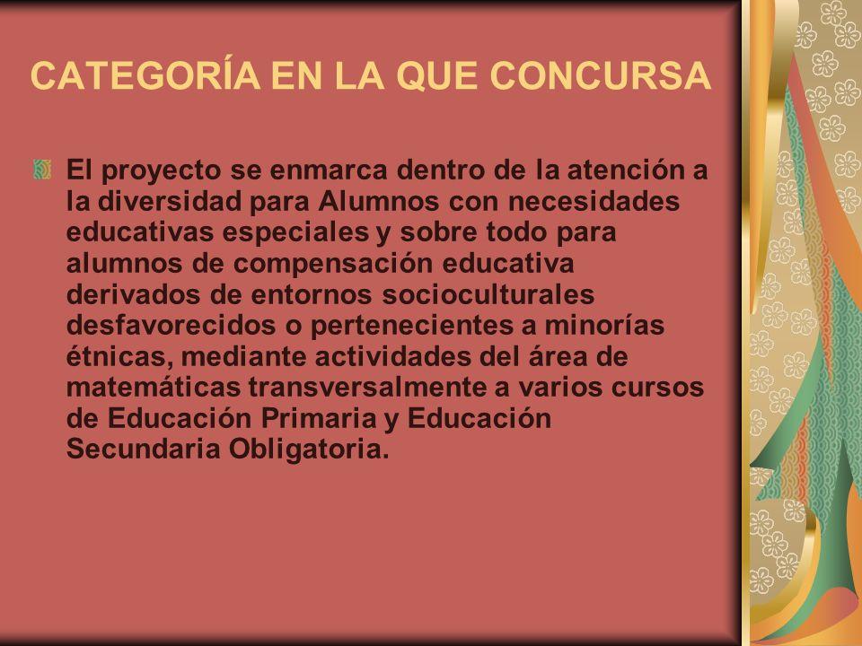 CATEGORÍA EN LA QUE CONCURSA El proyecto se enmarca dentro de la atención a la diversidad para Alumnos con necesidades educativas especiales y sobre t