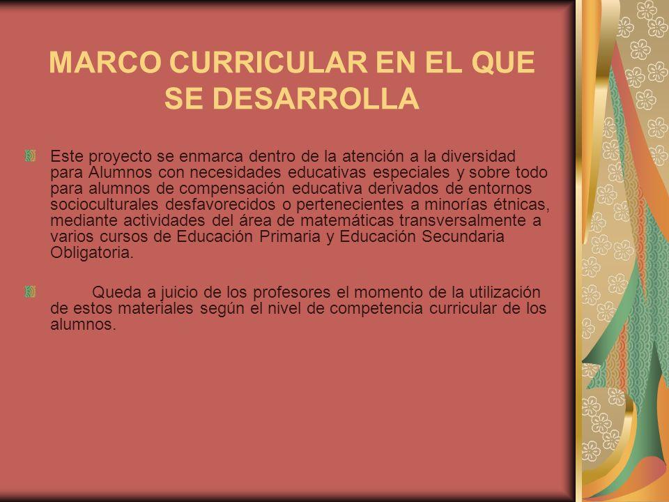 MARCO CURRICULAR EN EL QUE SE DESARROLLA Este proyecto se enmarca dentro de la atención a la diversidad para Alumnos con necesidades educativas especi
