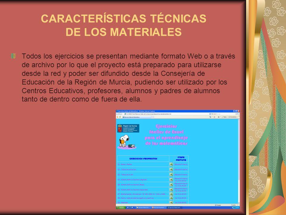 CARACTERÍSTICAS TÉCNICAS DE LOS MATERIALES Todos los ejercicios se presentan mediante formato Web o a través de archivo por lo que el proyecto está pr