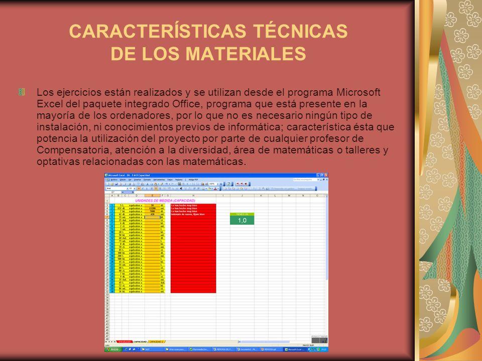 CARACTERÍSTICAS TÉCNICAS DE LOS MATERIALES Los ejercicios están realizados y se utilizan desde el programa Microsoft Excel del paquete integrado Offic