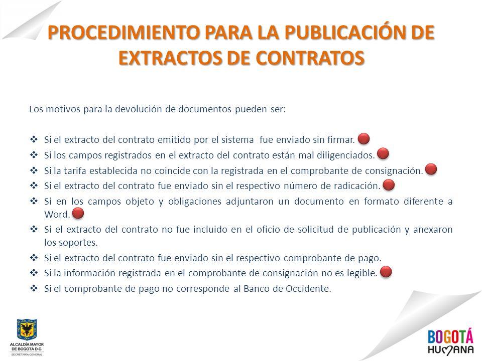 PROCEDIMIENTO PARA LA PUBLICACIÓN DE EXTRACTOS DE CONTRATOS Los motivos para la devolución de documentos pueden ser: Si el extracto del contrato emiti