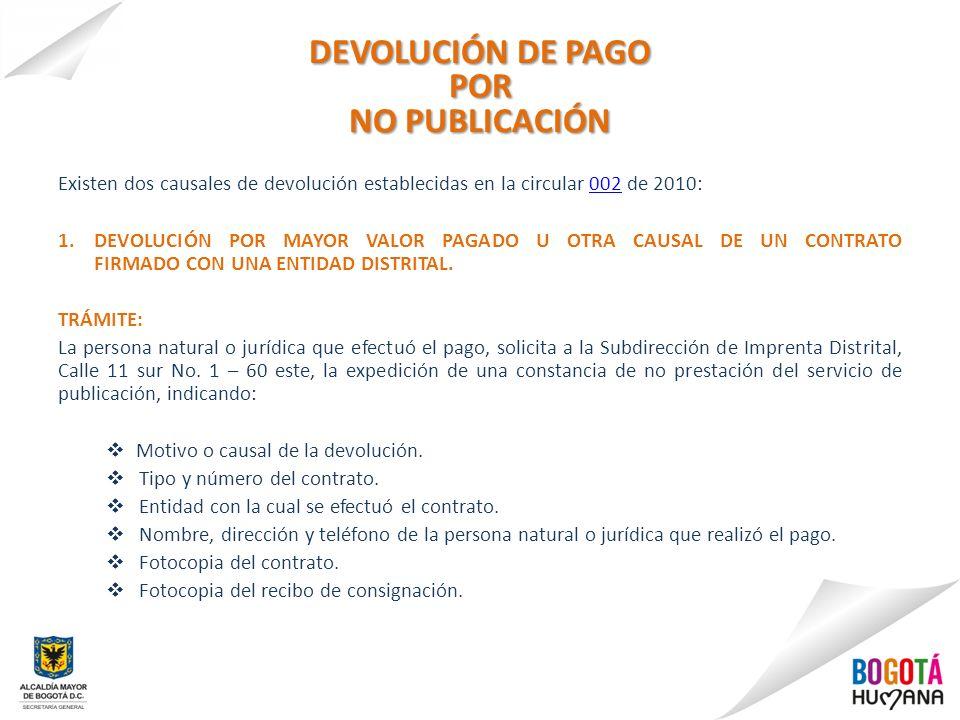 DEVOLUCIÓN DE PAGO POR NO PUBLICACIÓN Existen dos causales de devolución establecidas en la circular 002 de 2010:002 1.DEVOLUCIÓN POR MAYOR VALOR PAGA