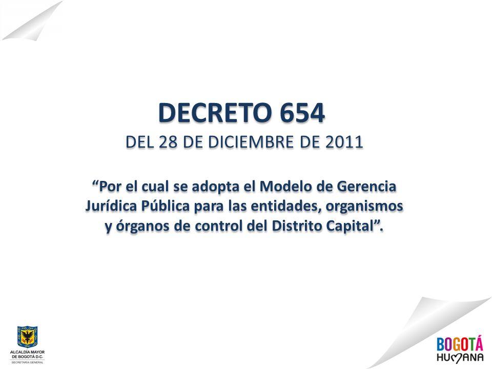 DECRETO 654 DEL 28 DE DICIEMBRE DE 2011 Por el cual se adopta el Modelo de Gerencia Jurídica Pública para las entidades, organismos y órganos de contr
