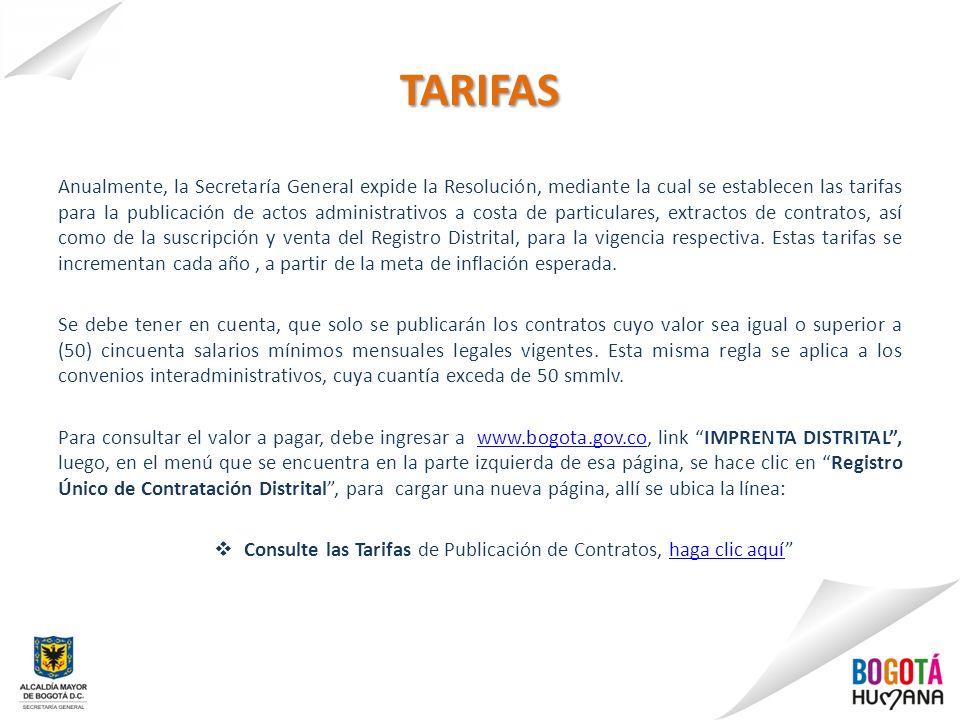 TARIFAS Anualmente, la Secretaría General expide la Resolución, mediante la cual se establecen las tarifas para la publicación de actos administrativo