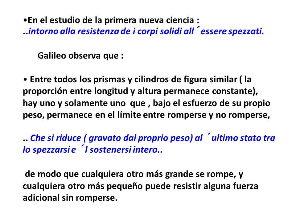 Dice Galileo : De lo dicho antes se deduce la imposibilidad de incrementar el tamaño de las estructuras hasta vastas dimensiones, tanto en la naturaleza como en el arte..