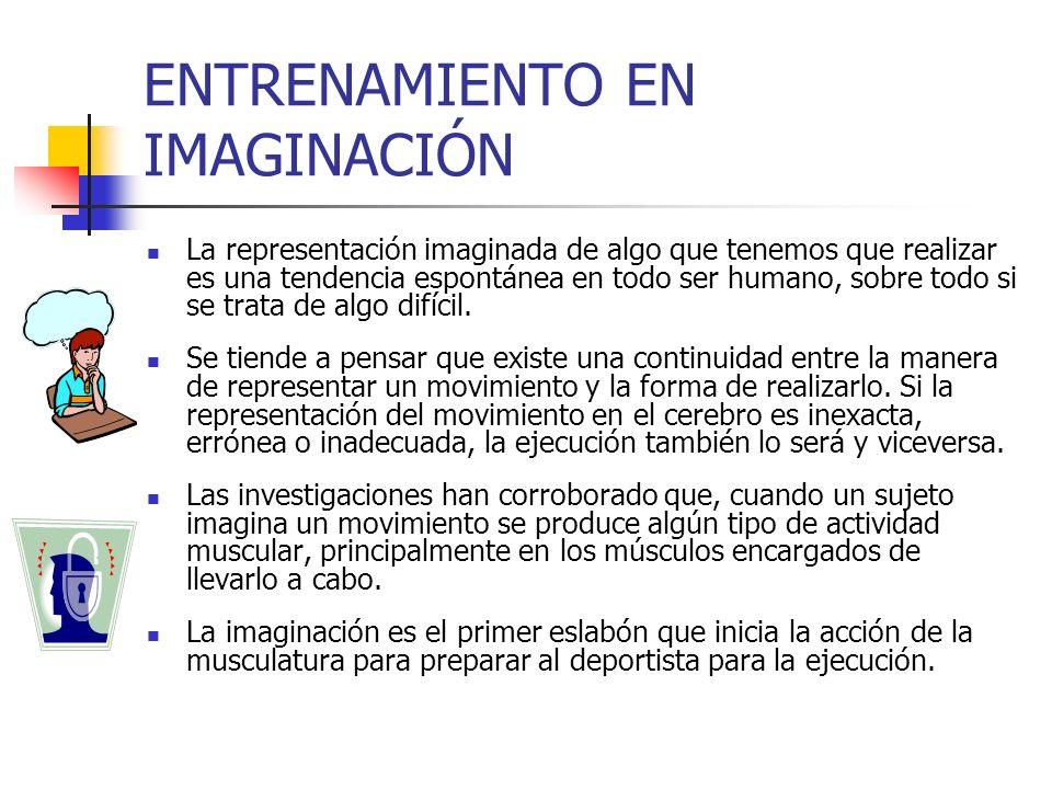 ENTRENAMIENTO EN IMAGINACIÓN La representación imaginada de algo que tenemos que realizar es una tendencia espontánea en todo ser humano, sobre todo s