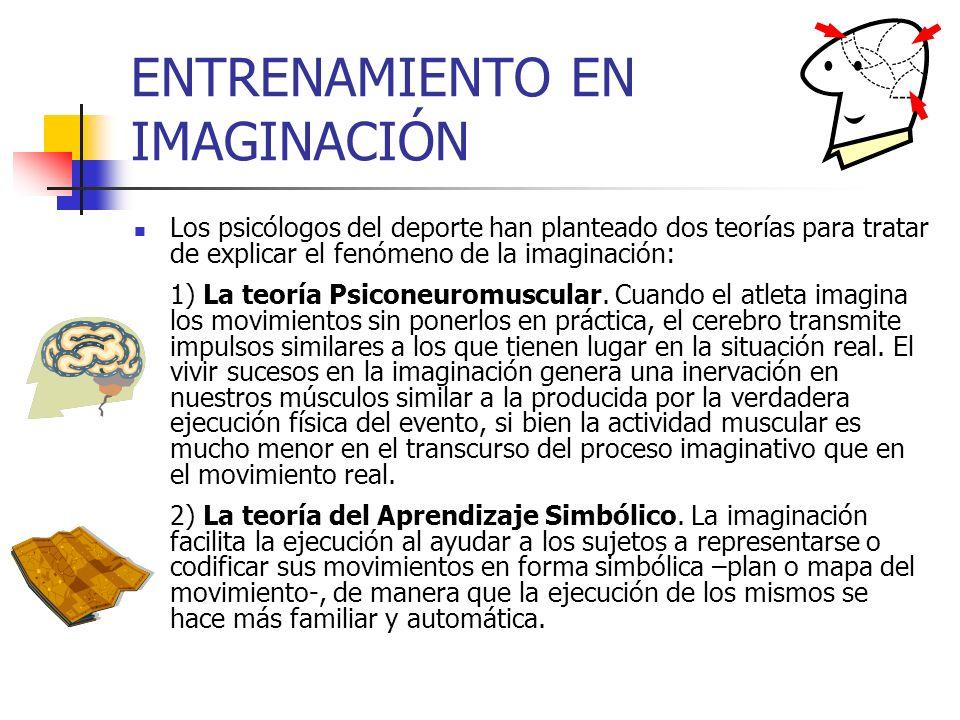 ENTRENAMIENTO EN IMAGINACIÓN Los psicólogos del deporte han planteado dos teorías para tratar de explicar el fenómeno de la imaginación: 1) La teoría