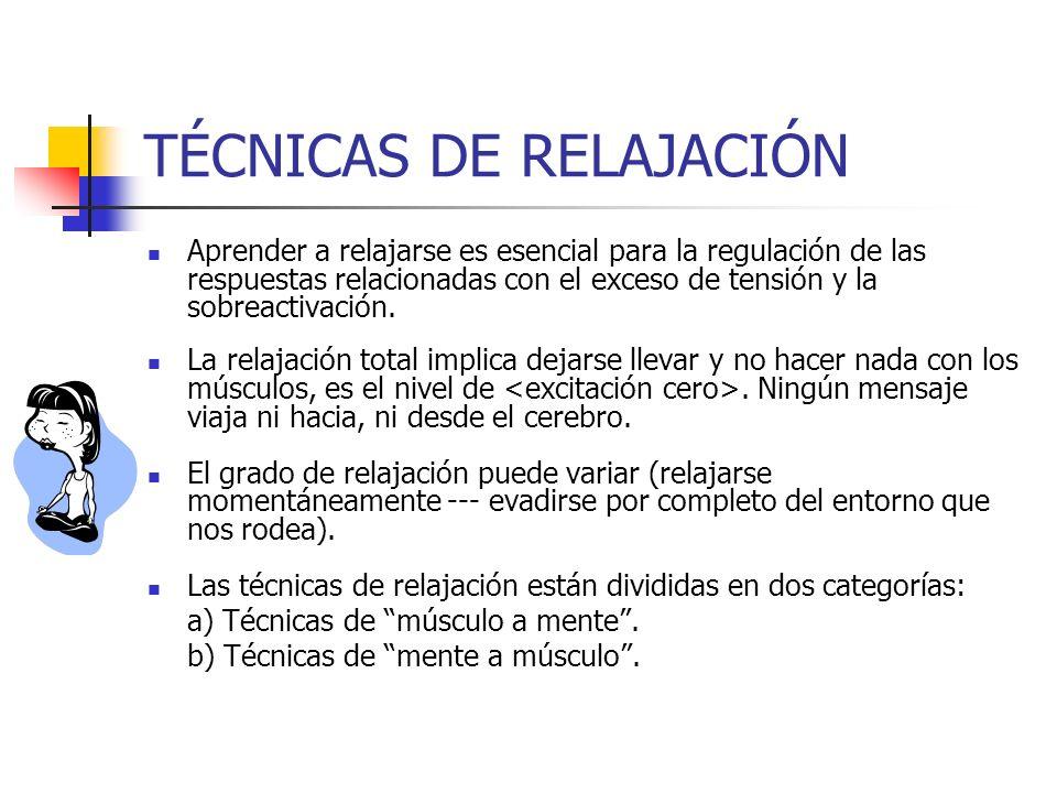 TÉCNICAS DE RELAJACIÓN Aprender a relajarse es esencial para la regulación de las respuestas relacionadas con el exceso de tensión y la sobreactivació