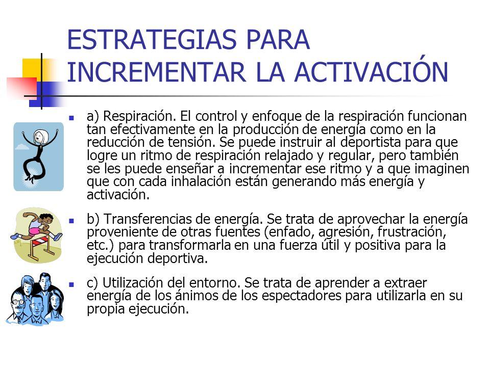 ESTRATEGIAS PARA INCREMENTAR LA ACTIVACIÓN a) Respiración. El control y enfoque de la respiración funcionan tan efectivamente en la producción de ener