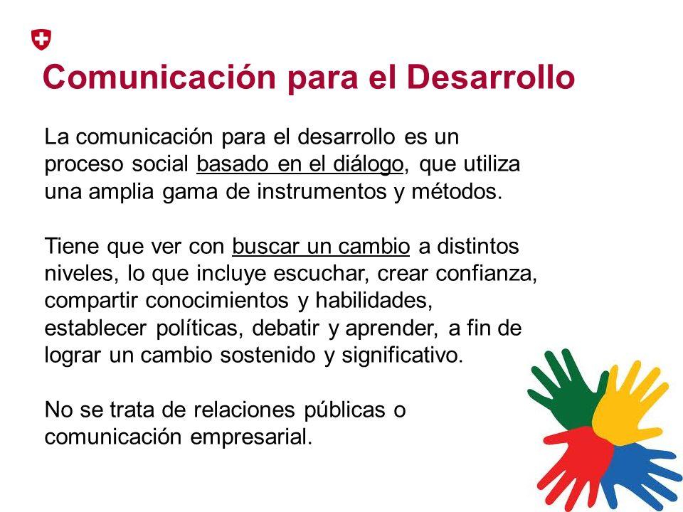 Comunicación para el Desarrollo La comunicación para el desarrollo es un proceso social basado en el diálogo, que utiliza una amplia gama de instrumen
