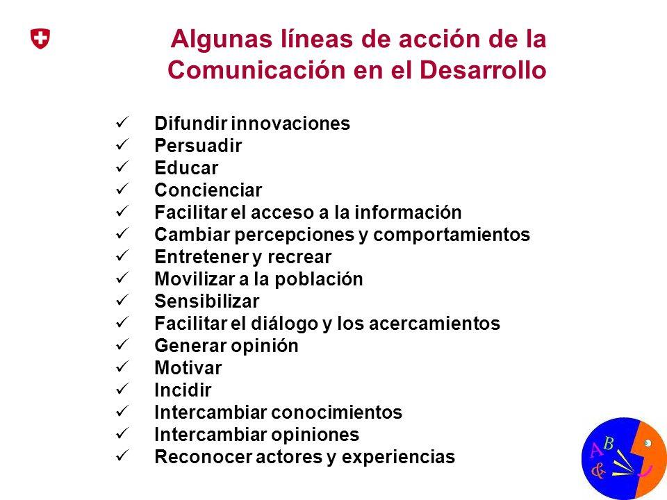 Algunas líneas de acción de la Comunicación en el Desarrollo Difundir innovaciones Persuadir Educar Concienciar Facilitar el acceso a la información C