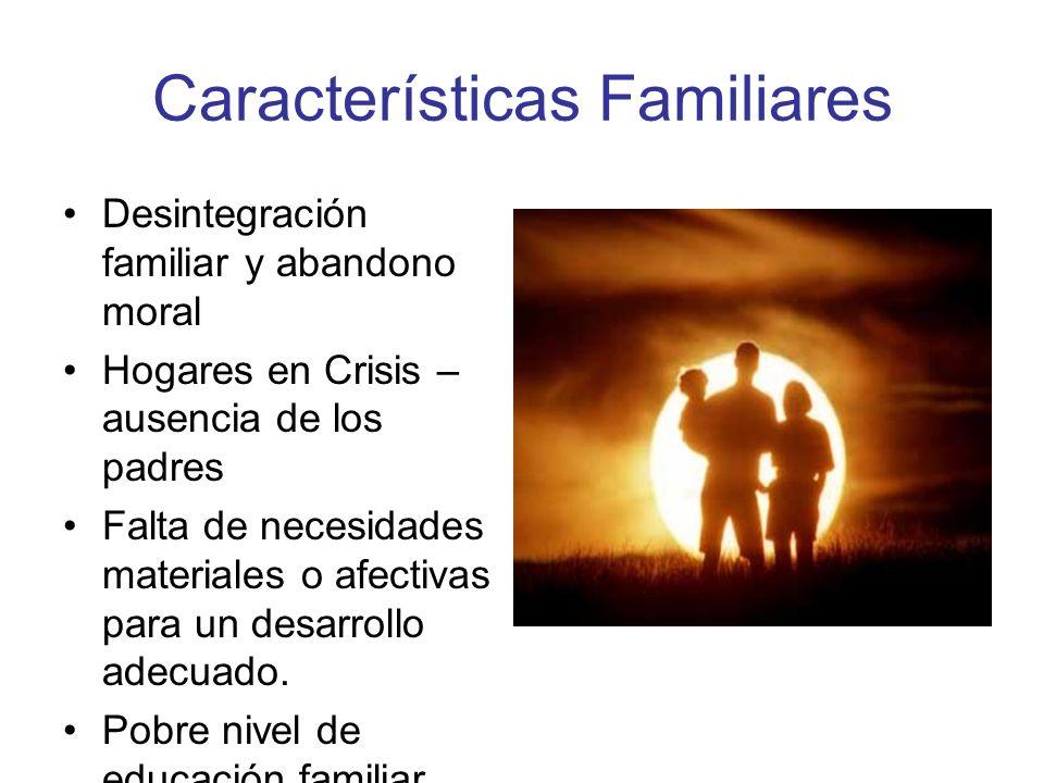 Características Familiares Desintegración familiar y abandono moral Hogares en Crisis – ausencia de los padres Falta de necesidades materiales o afect