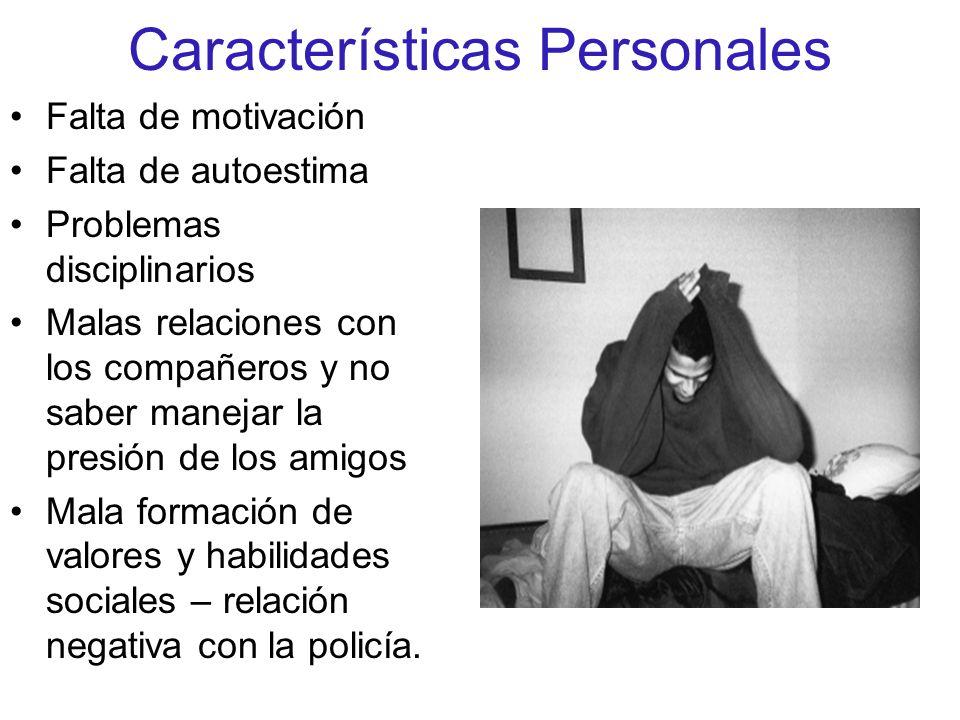 Características Personales Falta de motivación Falta de autoestima Problemas disciplinarios Malas relaciones con los compañeros y no saber manejar la