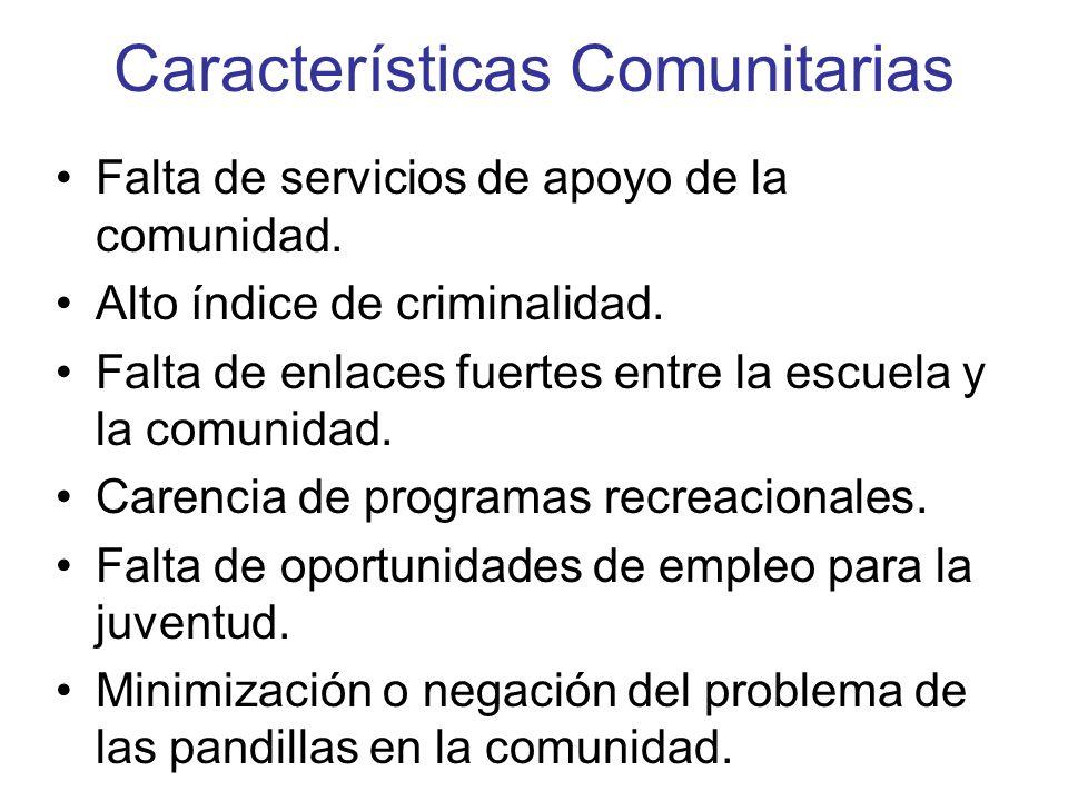 Características Comunitarias Falta de servicios de apoyo de la comunidad. Alto índice de criminalidad. Falta de enlaces fuertes entre la escuela y la