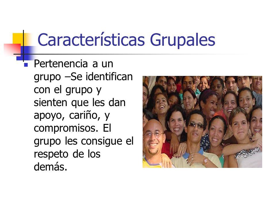 Características Grupales Pertenencia a un grupo –Se identifican con el grupo y sienten que les dan apoyo, cariño, y compromisos. El grupo les consigue