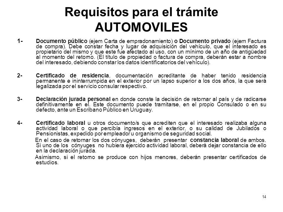Requisitos para el trámite AUTOMOVILES 1- Documento público (ejem Carta de empradonamiento) o Documento privado (ejem Factura de compra). Debe constar