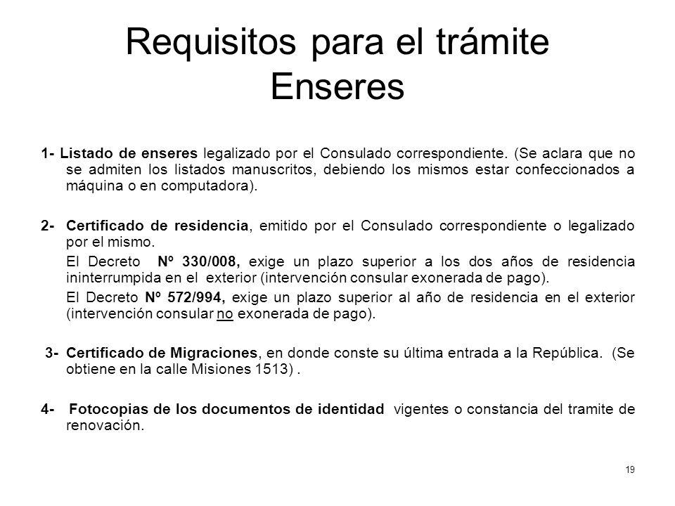 Requisitos para el trámite Enseres 1- Listado de enseres legalizado por el Consulado correspondiente.