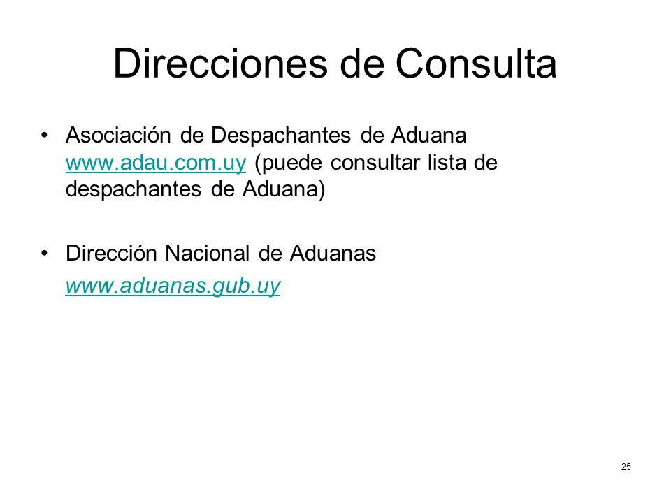 Direcciones de Consulta Asociación de Despachantes de Aduana www.adau.com.uy (puede consultar lista de despachantes de Aduana) www.adau.com.uy Dirección Nacional de Aduanas www.aduanas.gub.uy 25