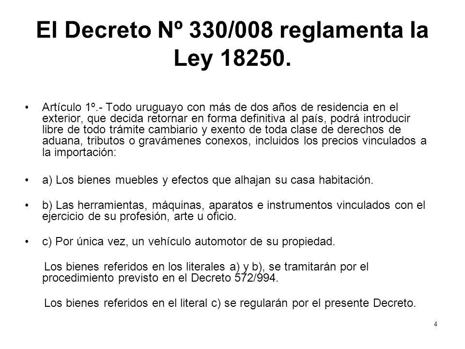 El Decreto Nº 330/008 reglamenta la Ley 18250. Artículo 1º.- Todo uruguayo con más de dos años de residencia en el exterior, que decida retornar en fo