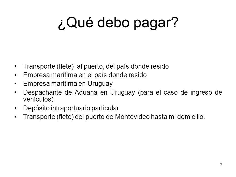 ¿Qué debo pagar? Transporte (flete) al puerto, del país donde resido Empresa marítima en el país donde resido Empresa marítima en Uruguay Despachante