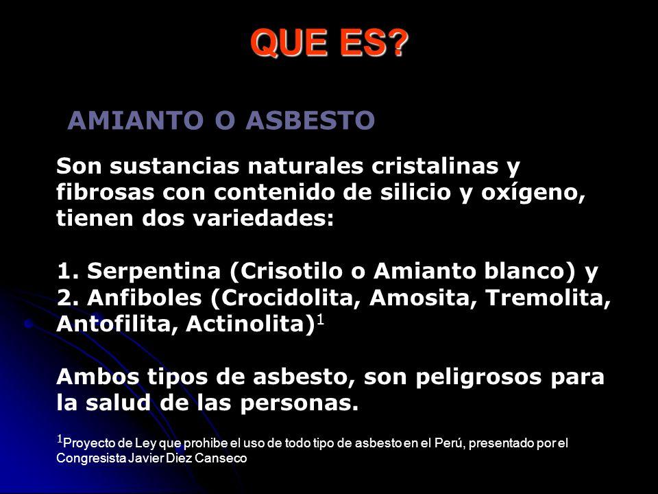 QUE ES? Son sustancias naturales cristalinas y fibrosas con contenido de silicio y oxígeno, tienen dos variedades: 1. Serpentina (Crisotilo o Amianto