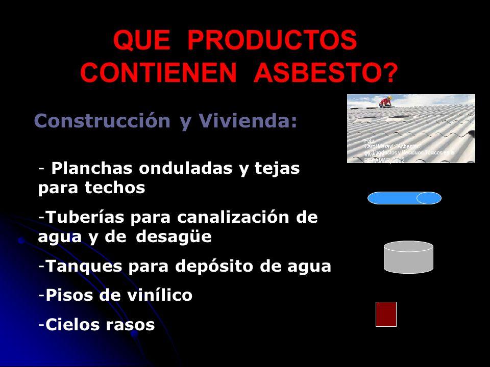 QUE PRODUCTOS CONTIENEN ASBESTO? Construcción y Vivienda: - Planchas onduladas y tejas para techos -Tuberías para canalización de agua y de desagüe -T