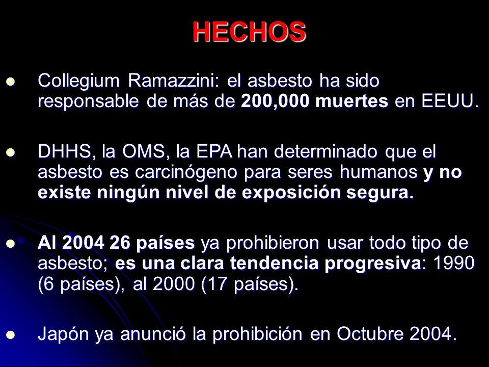 HECHOS Collegium Ramazzini: el asbesto ha sido responsable de más de 200,000 muertes en EEUU.