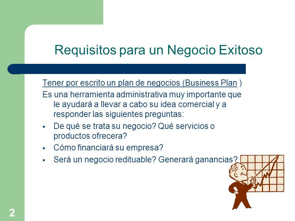 2 Requisitos para un Negocio Exitoso Tener por escrito un plan de negocios (Business Plan ) Es una herramienta administrativa muy importante que le ay