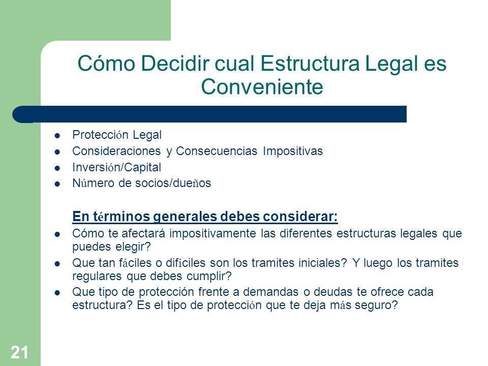 21 Cómo Decidir cual Estructura Legal es Conveniente Protecci ó n Legal Consideraciones y Consecuencias Impositivas Inversi ó n/Capital N ú mero de so
