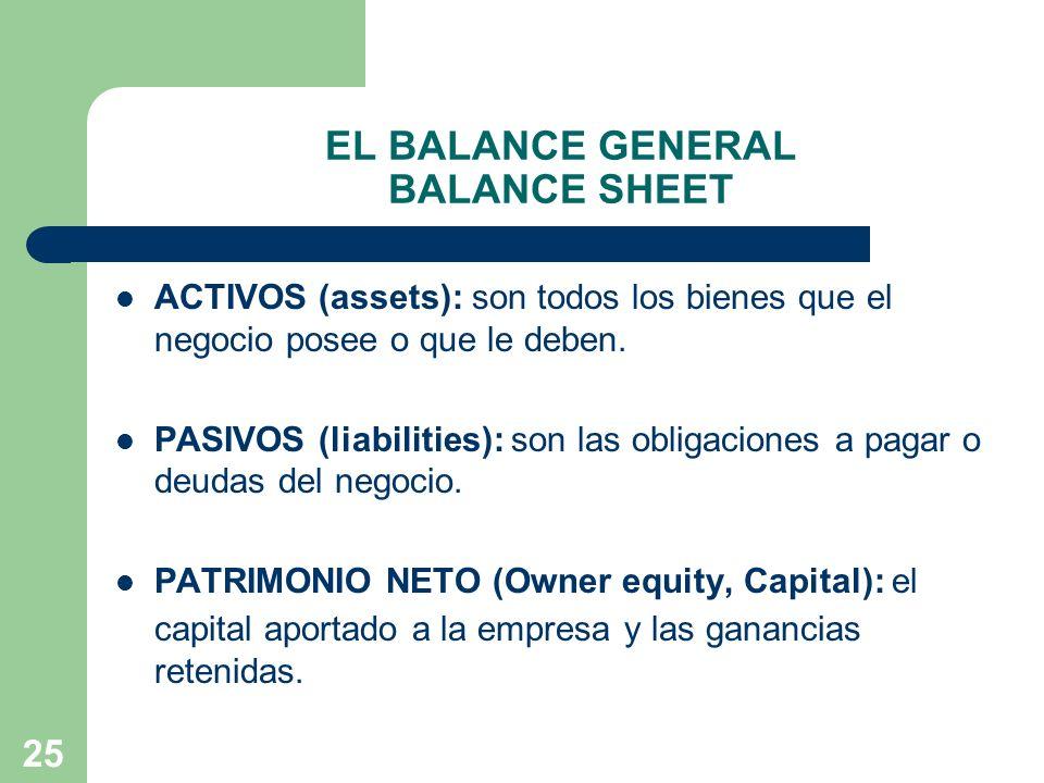 25 EL BALANCE GENERAL BALANCE SHEET ACTIVOS (assets): son todos los bienes que el negocio posee o que le deben. PASIVOS (liabilities): son las obligac