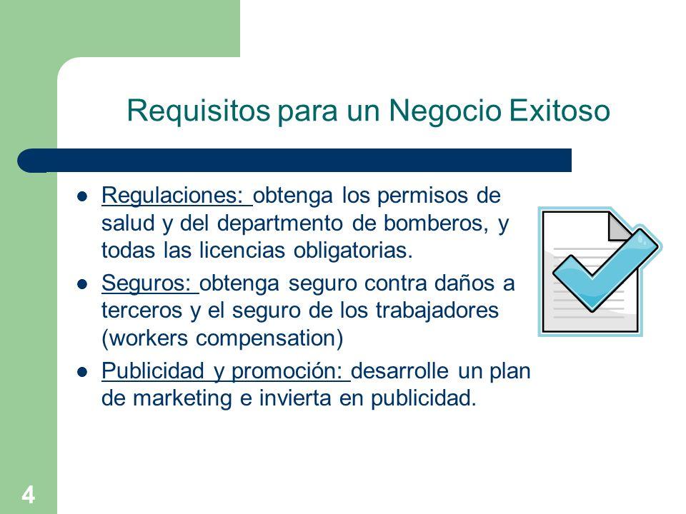 4 Requisitos para un Negocio Exitoso Regulaciones: obtenga los permisos de salud y del departmento de bomberos, y todas las licencias obligatorias. Se