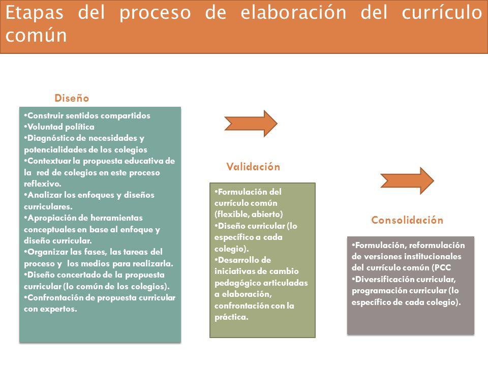 Formulación, reformulación de versiones institucionales del currículo común (PCC Diversificación curricular, programación curricular (lo específico de