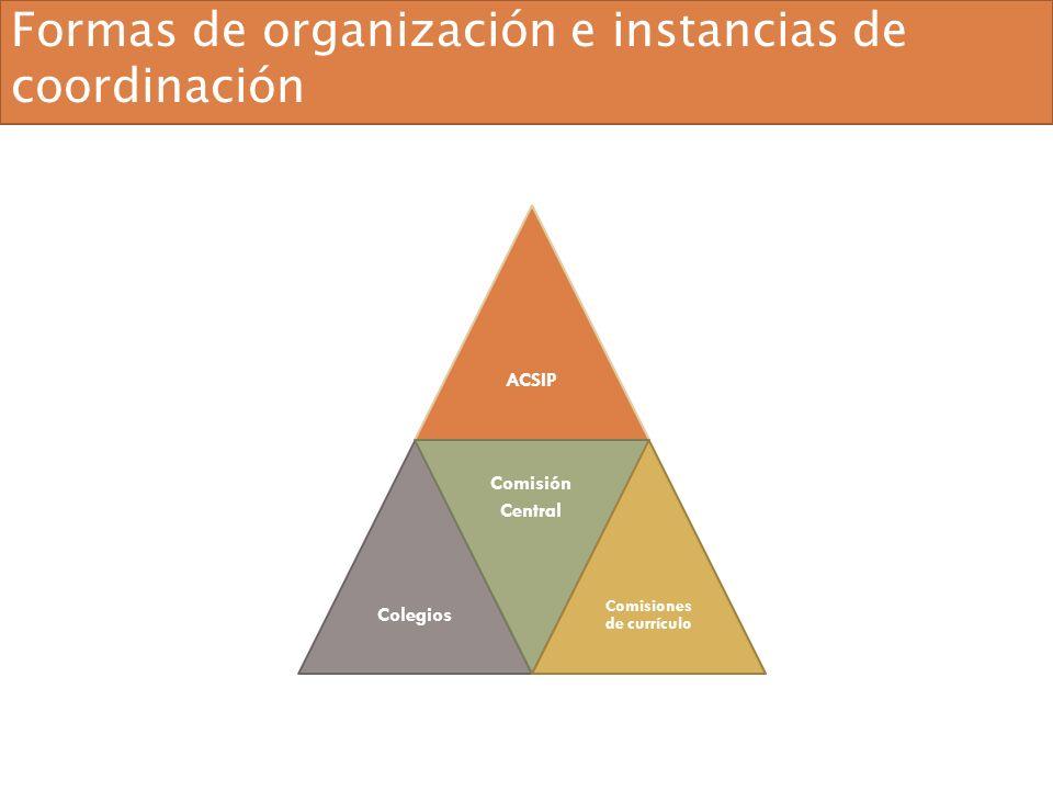 ACSIPColegios Comisión Central Comisiones de currículo Formas de organización e instancias de coordinación