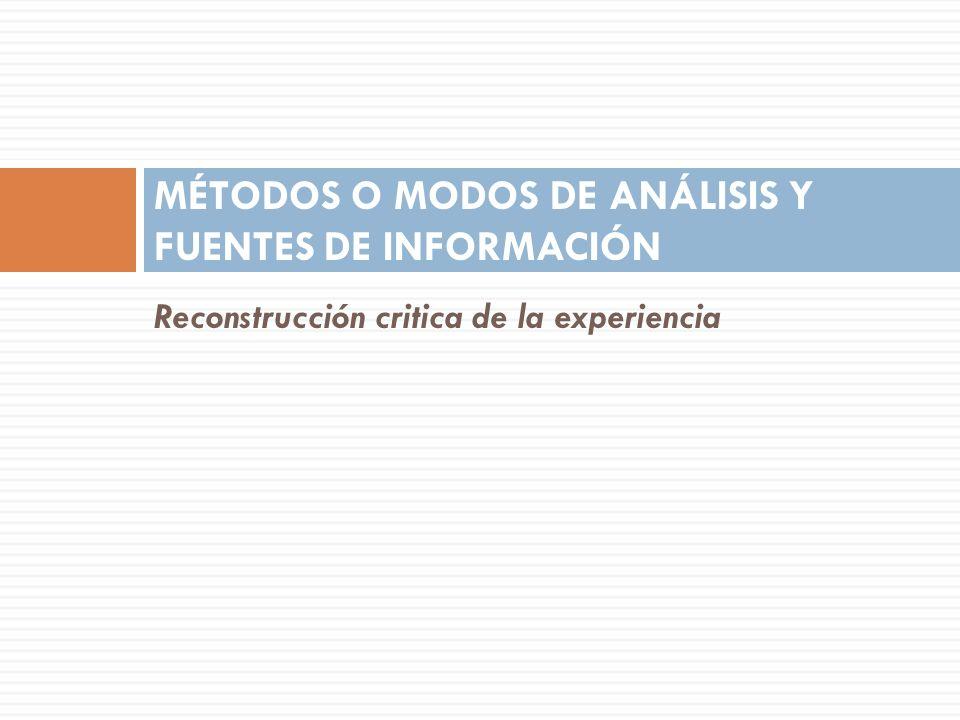 Reconstrucción critica de la experiencia MÉTODOS O MODOS DE ANÁLISIS Y FUENTES DE INFORMACIÓN