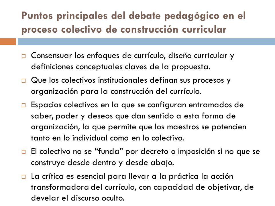Puntos principales del debate pedagógico en el proceso colectivo de construcción curricular Consensuar los enfoques de currículo, diseño curricular y